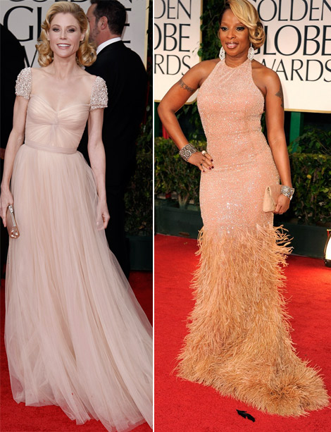 Julie Bowen Mary J Blige Pale dresses 2012 Golden Globes