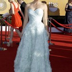 Kaley Cuoco pale mint Romona Keveza dress 2012 SAG