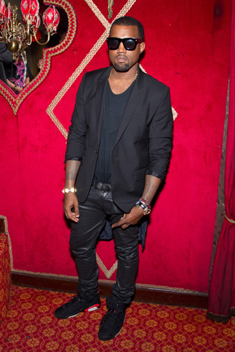 Kanye West dressed in black