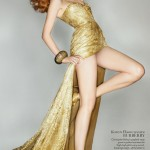 Karen Elson Burberry dress for the Olympics Closing Ceremony Vogue