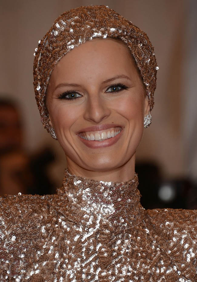 Karolina Kurkova In Rachel Zoe Shiny Dress For Met Gala 2012