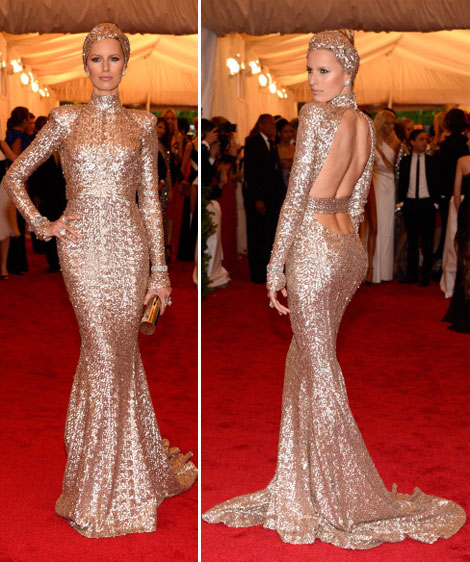 Karolina Kurkova Rachel Zoe golden dress Met Gala 2012
