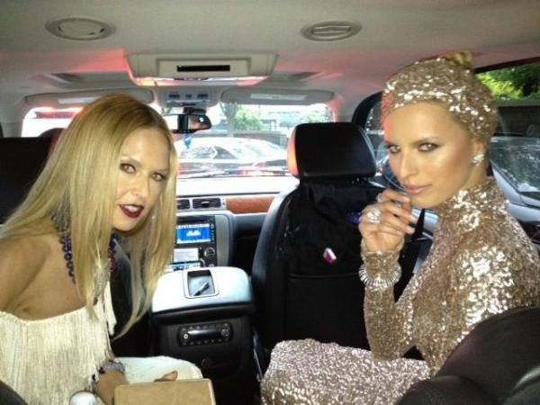 Karolina Kurkova with Rachel Zoe ready for the Met Gala 2012
