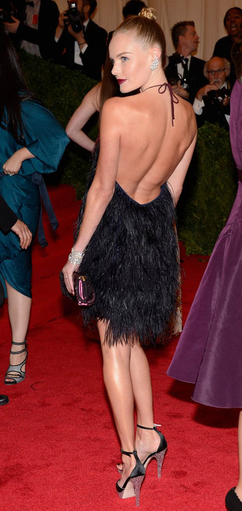 Kate Bosworth back of Prada feathered black short dress Met Gala 2012