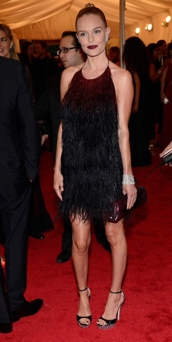 Kate Bosworthblack feathered dress Prada Met Gala 2012