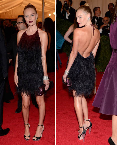 Kate Bosworth gorgeous in Prada feathered black short dress Met Gala 2012