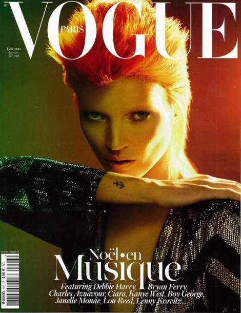 Kate Moss Vogue Paris December 2011 January 2012 cover Bowie