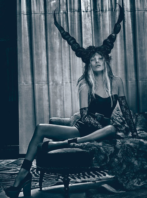 Kate Moss W Magazine March 2012 evil horns