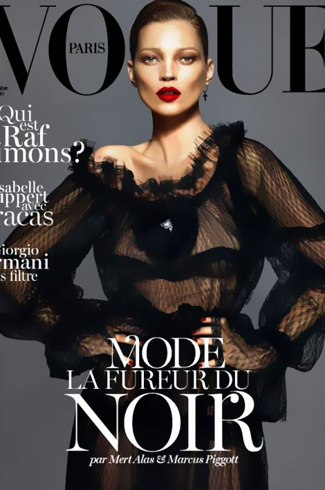 Kate Moss covers Vogue Paris September 2012 in black Dolce dress