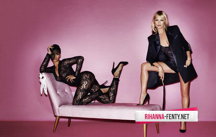 Kate Moss getting close to Rihanna for V magazine pictures