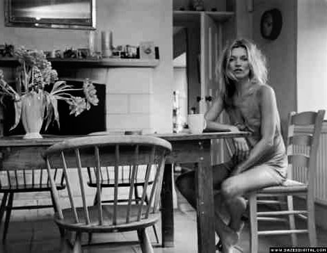 Kate Moss home kitchen attire