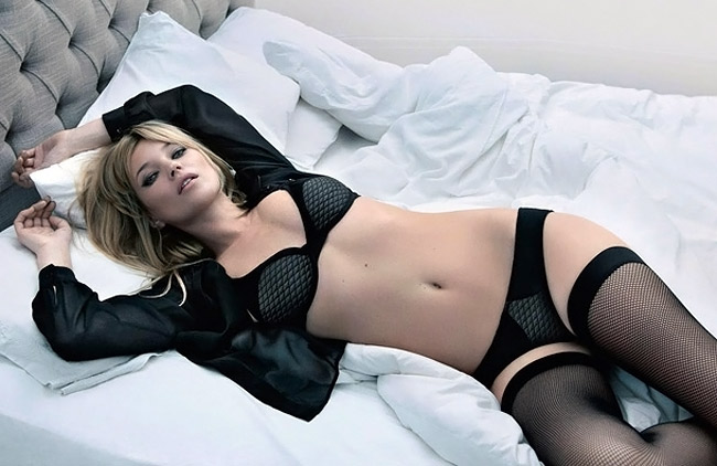 Kate Moss in black lingerie Valisere fw 11 12 ad campaign