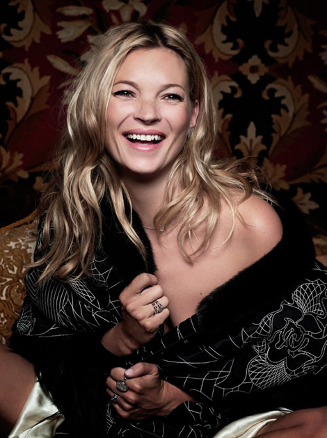 Kate Moss laughs in Madame Figaro pictorial