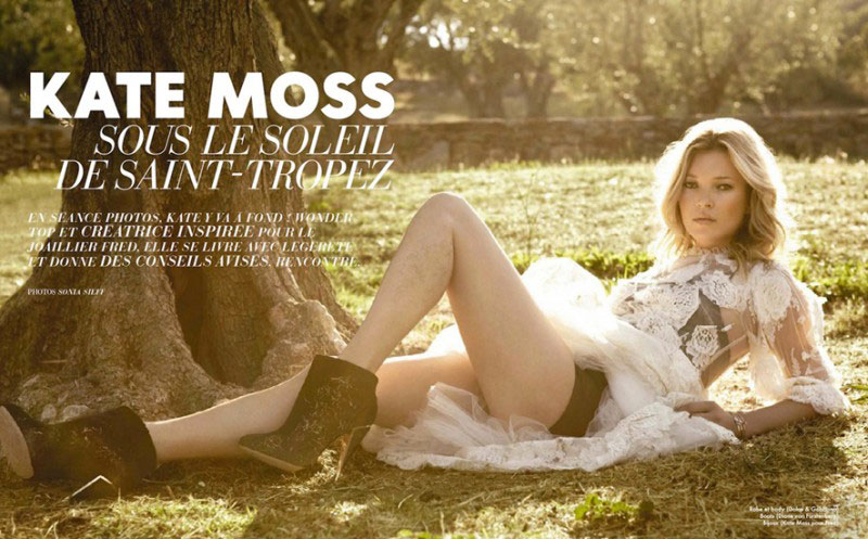 Kate Moss Shows Her Usual Boho Chic Style For Elle France