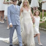 Kate Moss the bride wearing cream wedding dress John Galliano