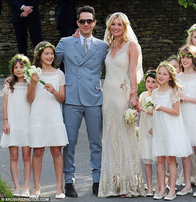 Kate Moss wedding dress golden embroidery