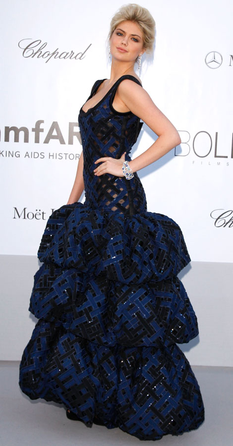 Kate Upton perforated Louis Vuitton dress Cannes amfAR Gala
