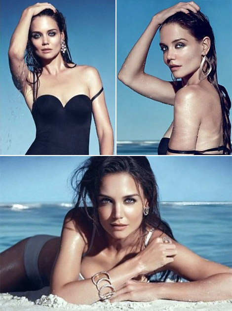 Katie Holmes Cruise In Bathing Suit For Jewelry Ads