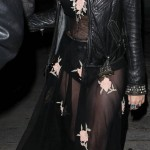 Katy Perry see through black dress leather jacket
