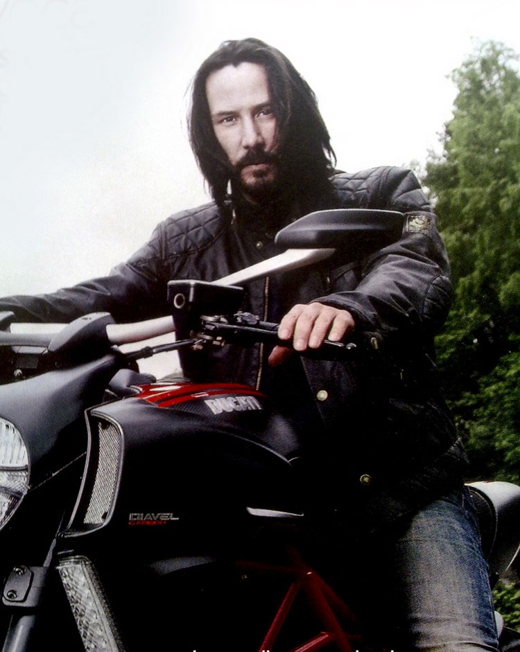 Keanu Reeves on his bike