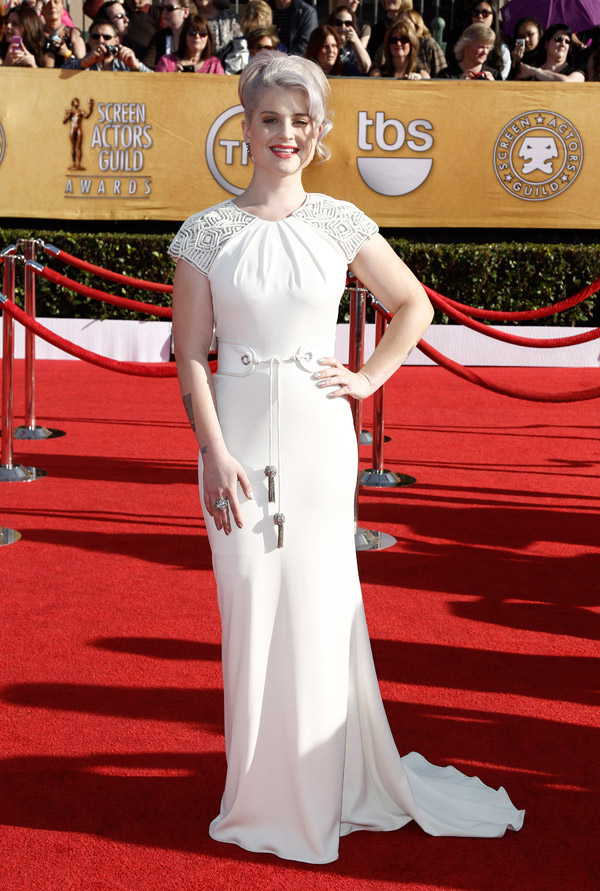 Kelly Osbourne white Badgley Mischka dress 2012 SAG