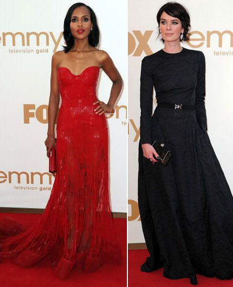 Kerry Washington Lena Headey 2011 Emmy Red Carpet