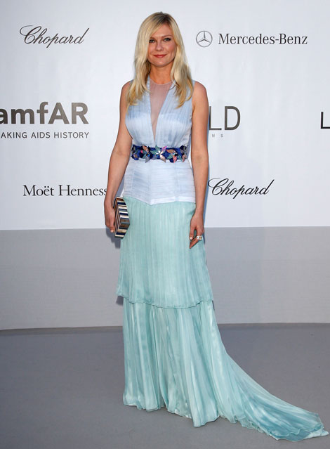 amfAR Red Carpet: Kirsten Dunst In Light Blue Louis Vuitton Dress