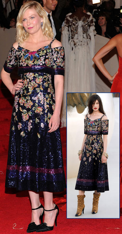 Kirsten Dunst sequined floral Chanel Couture dress Met Gala 2011