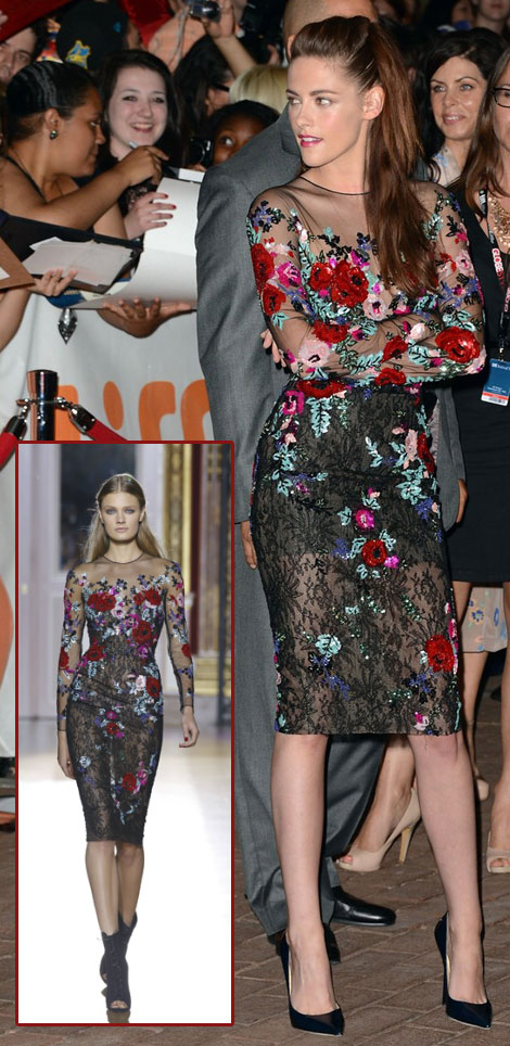 Kristen Stewart Red Carpet TIFF Zuhair Murad black floral dress