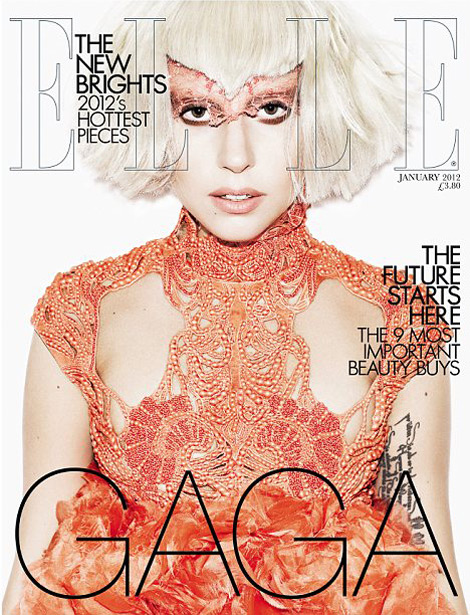 Lady Gaga Elle UK January 2012 cover in McQueen