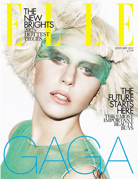 Lady Gaga Elle UK January 2012 green cover