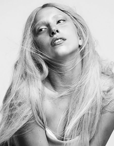Lady Gaga Harpers Bazaar October 2011 black and white photography