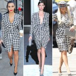 Lady Gaga Kim Kardashian Ferragamo Black and White dress