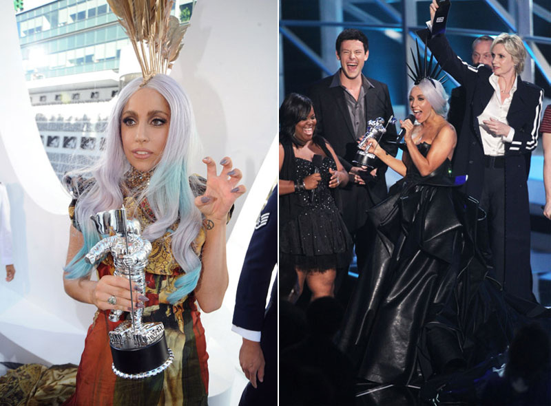 Lady Gaga MTV VMA 2010 trophies