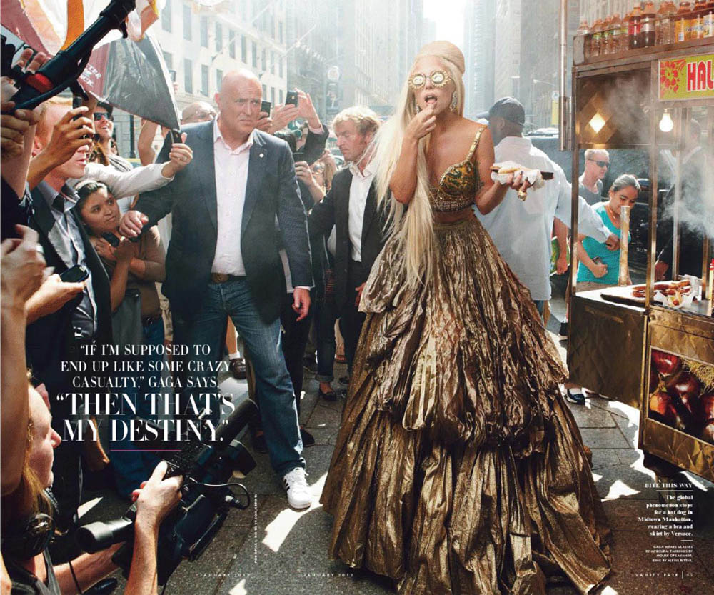 Lady Gaga Vanity Fair tin dress