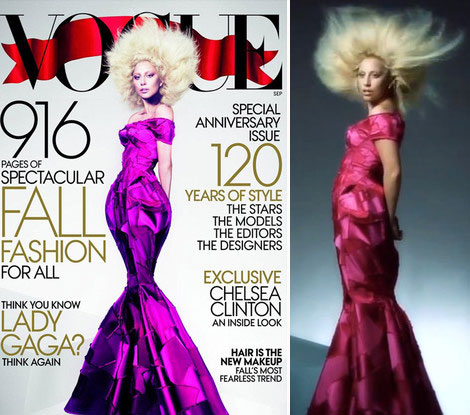 Lady Gaga's Vogue Cover Before And After Photoshop