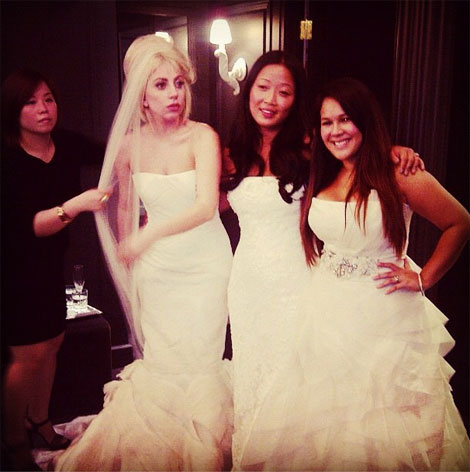 Lady Gaga's White Vera Wang Wedding Dress. Wait, What?