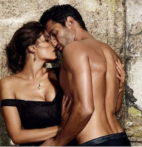 Laetitia Casta close to Noah Mills Dolce and Gabbana ad