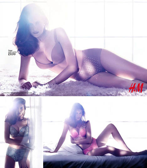 Laetitia Casta glamorous lingerie photos H and M underwear campaign