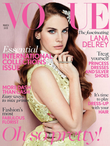Lana Del Rey Vogue UK March 2012 pink cover
