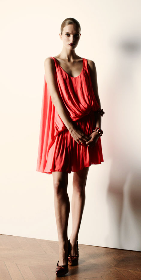 Lanvin Resort 2013 collection coral pleated dress
