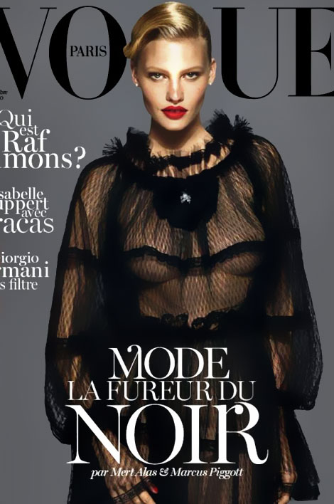 Lara Stone covers Vogue Paris September 2012 in black Dolce dress