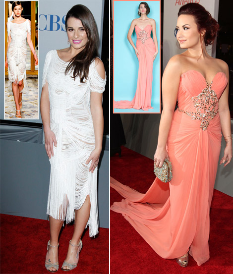 Lea Michele Demi Lovato Marchesa Dresses People s Choice Awards 2012
