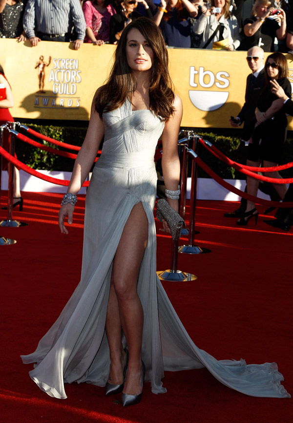 Lea Michele Soft Gray Versace dress 2012 SAG
