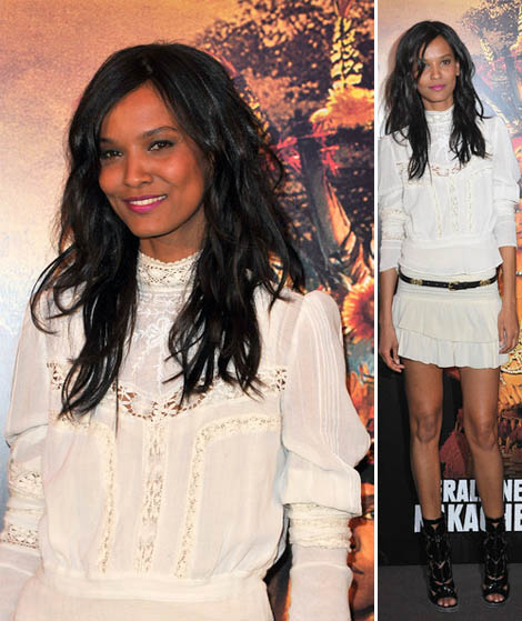 Liya Kebede wears white to Paris Movie Premiere