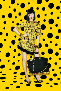 Louis Vuitton polka dots dress with Yayoi Kusama
