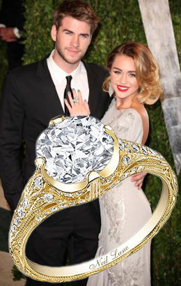 MIley Cyrus Diamond Engagement Ring offered by Liam Hemsworth