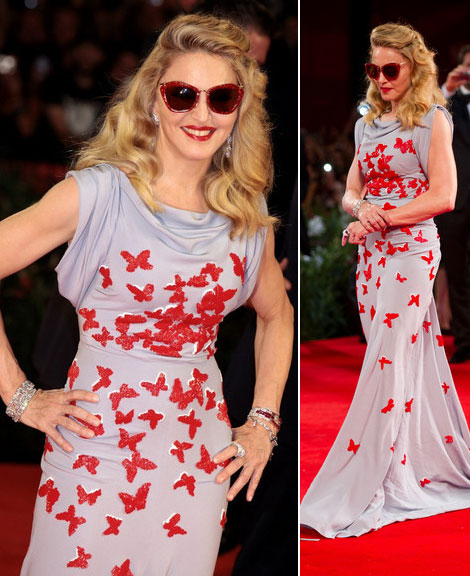 Madonna gray dress red butterflies premiere of her movie