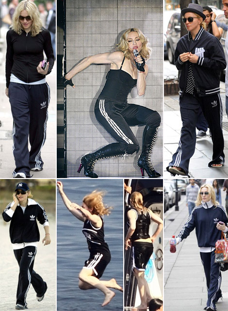 Madonna wearing her faithful Adidas tracksuit