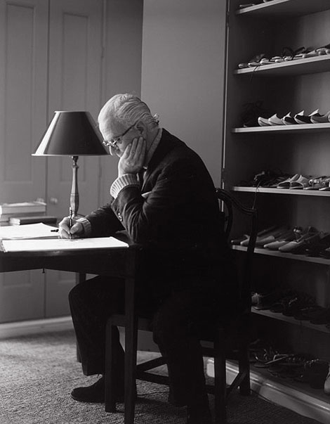 Manolo Blahnik drawing at home